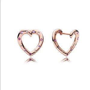 New Pandora Bright Hearts Rose Gold Earrings